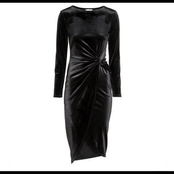 68382bc948e65 H&M Dresses | Hm Black Velvet Faux Wrap Dress | Poshmark